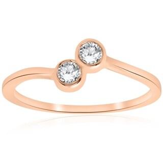 Bliss 14k Rose Gold 1/4 ct TDW Diamond Two Stone Engagement Promise Anniversary Ring - White