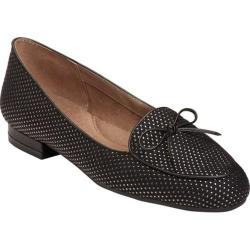 Women's Aerosoles Feel Good Flat Black Gold Combo Fabric/Leather