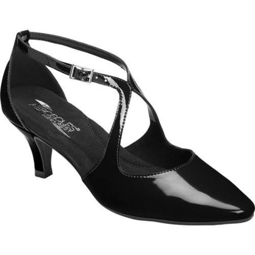 3206a30202 Women's Aerosoles Onward Kitten Heel Black Faux Patent Leather