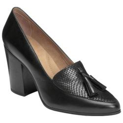 Women's Aerosoles Times Square Tassel Loafer Black Leather/Snake Print Leather|https://ak1.ostkcdn.com/images/products/191/183/P23125291.jpg?impolicy=medium