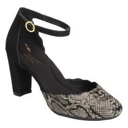 Women's Aerosoles Columbus Ave Ankle Strap Heel Black Tan Combo Python Print Leather