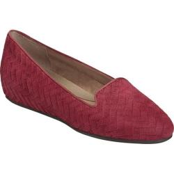Women's Aerosoles Cosmetology Flat Dark Red Nubuck