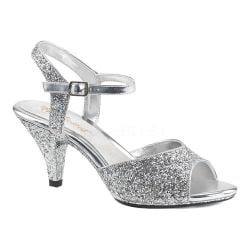 Women's Fabulicious Belle 309G Ankle-Strap Sandal Silver Glitter/Silver Glitter