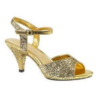 Women's Fabulicious Belle 309G Ankle-Strap Sandal Gold Glitter/Gold Glitter