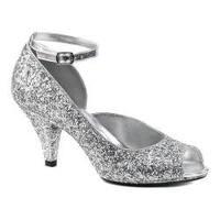Women's Fabulicious Belle 381G Ankle-Strap Open-Toe Pump Silver Glitter/Silver Glitter