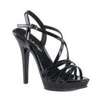 Women's Fabulicious Lip 113 Strappy Platform Sandal Black Patent/Black