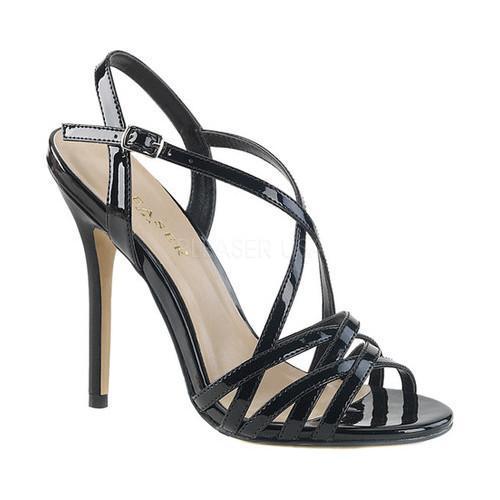 Women's Pleaser Amuse 13 Strappy Sandal Black Patent