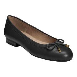 Women's A2 by Aerosoles Good Cheer Ballet Flat Black Faux Leather/Fabric