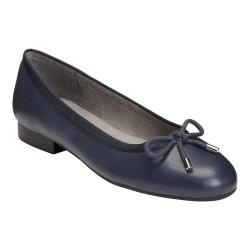 Women's A2 by Aerosoles Good Cheer Ballet Flat Navy Faux Leather/Fabric