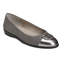 Women's A2 by Aerosoles Trend Book Flat Grey Combo Faux Suede/Faux Patent Leather