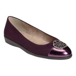 Women's A2 by Aerosoles Trend Book Flat Purple Combo Faux Suede/Faux Patent Leather