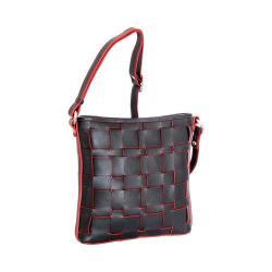 Women's Nino Bossi Colleen Woven Leather Cross Body Black
