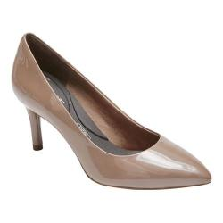 Women's Rockport Total Motion 75mm Pointed Toe Pump Taupe Grey Pearl Patent (More options available)