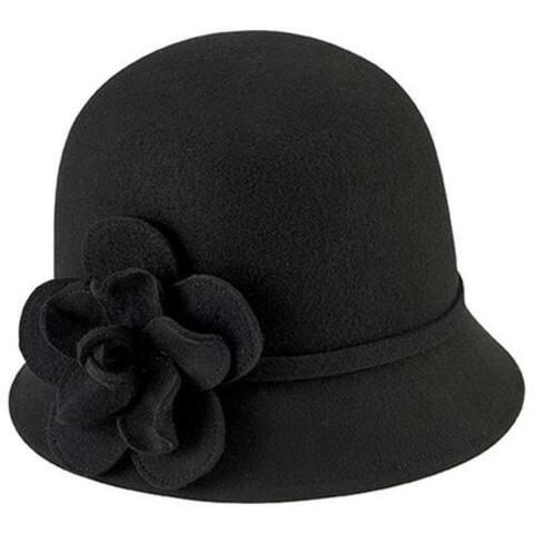 4c6e09a6b1cc4 Women's San Diego Hat Company Cloche Bucket Hat with Flower WFH8035 Black