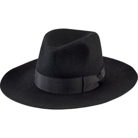 Women's San Diego Hat Company Wide Flat Brim Fedora with Grosgrain Bow WFH8040 Black