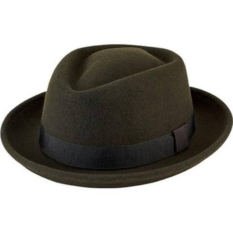 Olive Wool Felt Porkpie with Grosgrain Trim by San Diego Hat Company