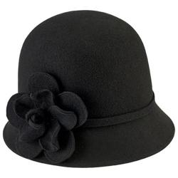Women's San Diego Hat Company Cloche Bucket Hat with Flower WFH8035 Black