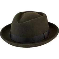 Olive Wool Felt Porkpie with Grosgrain Trim by San Diego Hat Company