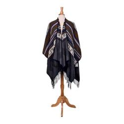 Women's San Diego Hat Company Woven Geometric Pattern Poncho with Fringe BSP3540 Grey