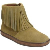 Women's Aerosoles Good Fun Fringe Bootie Green Suede