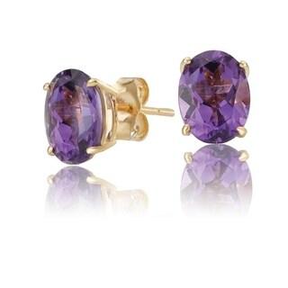 Avanti 14K Yellow Gold 8x6mm Oval Amethyst Stud Earrings - Purple