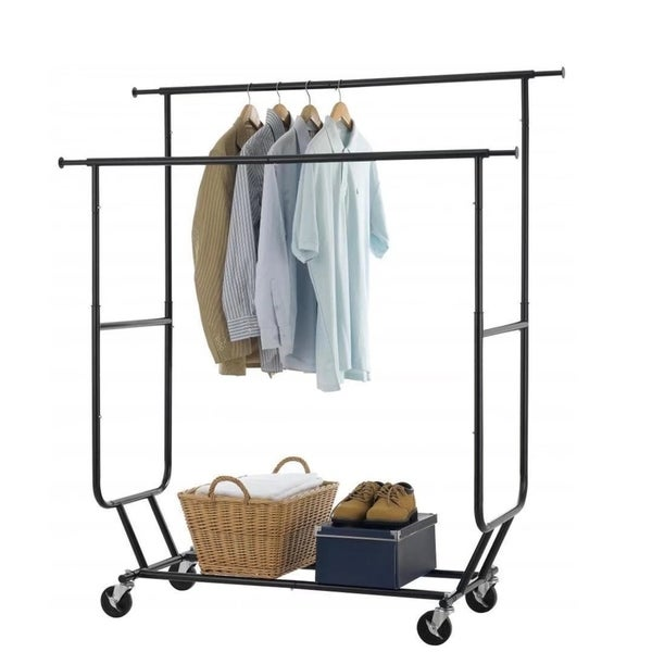 shop heavy duty collapsible clothing rolling double garment rack