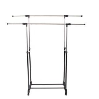Double-bar Castor Wheels Rolling Garment Rack Rail Clothes Hanger