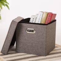 Glitzhome Foldable Linen Cube Storage Ottoman with Padded Seat,Gray