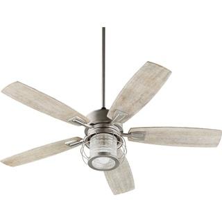 Galveston Weathered Oak-finish Wood 52-inch Integrated Light Kit Ceiling Fan