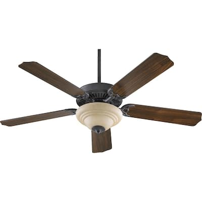 "Capri 3 52"" Traditional Ceiling Fan with Tri Bump Bowl Light Kit."