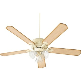 Chateaux 60 Uni-Pack Traditional Ceiling Fan with Tri-Light Light Kit. (13 - 15 Degrees - persian white with clear seeded glass - Large space/Indoor)