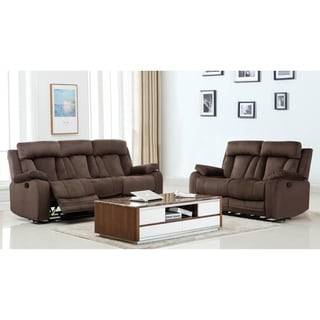 Microfiber Fabric Upholstered 2 Piece Living Room Recliner Sets