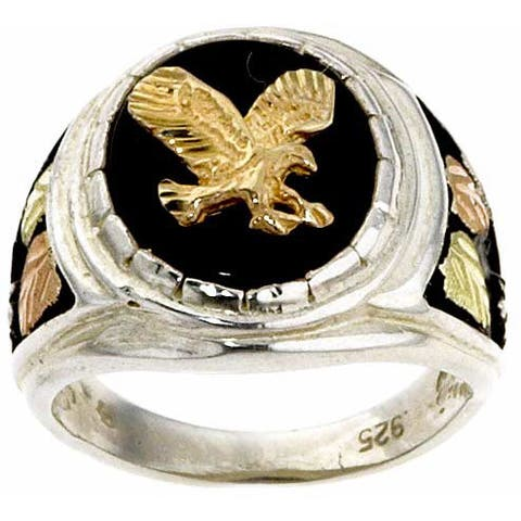 Black Hills Gold and Silver Onyx Mens Eagle Ring