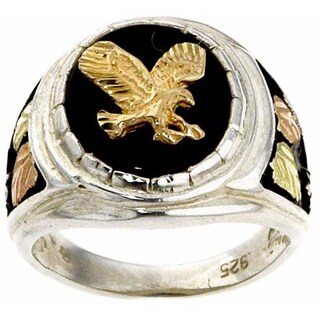 Black Hills Gold and Silver Onyx Mens Eagle Ring (5 options available)