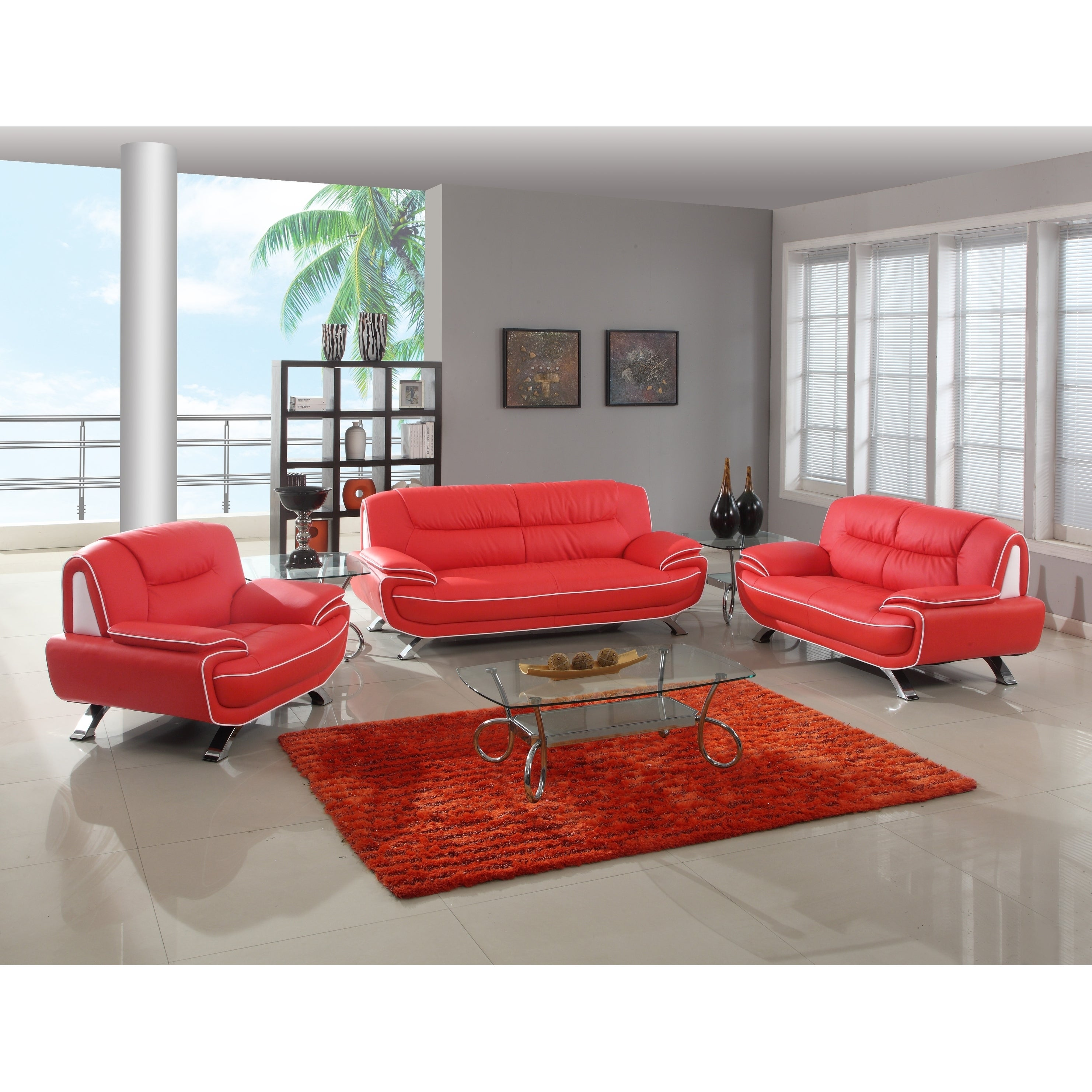 red living room sets. Olympia Luxury Leather/Match Upholstered 3-Piece Living Room Sofa Set (Option: Red Sets N