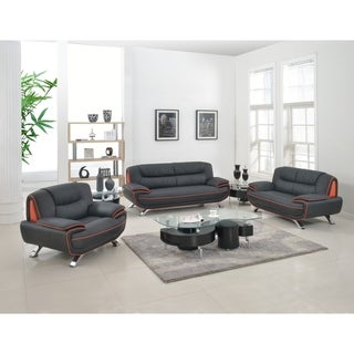 Olympia Luxury Leather/Match Upholstered 3-Piece Living Room Sofa Set