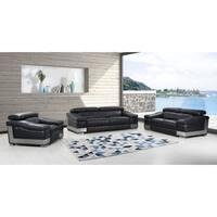 DivanItalia Salerno Luxury Italian Leather Upholstered Complete 3-Piece Living Room Sofa Set
