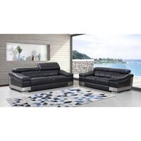 DivanItalia Salerno Luxury Italian Leather Upholstered 2-Piece Living Room Sofa Set