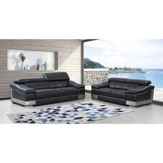 DivanItalia Salerno Luxury Italian Leather Upholstered 2 Piece Living Room  Sofa Set