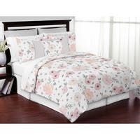Sweet Jojo Designs Blush Pink, Grey and White Watercolor Floral Collection Girl 3-piece Full / Queen-size Comforter Set