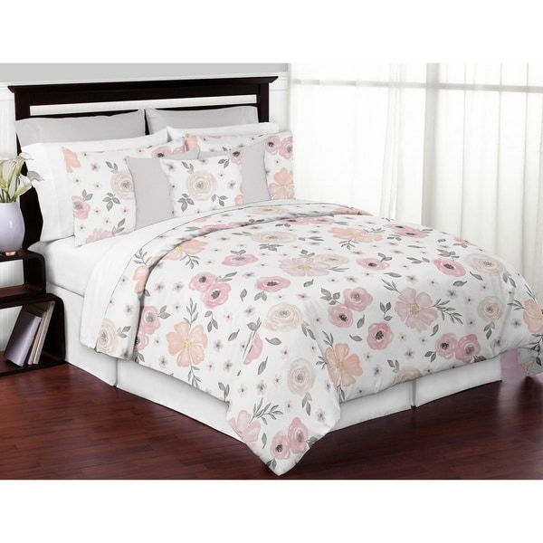 Pink Floral Comforter Set Full Queen Blue White Pinstripe 5 Piece Bedding