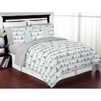 Sweet Jojo Designs Navy Blue, Aqua and Grey Aztec Mountains Collection Boy Girl 3-piece Full / Queen-size Comforter Set