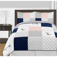 Sweet Jojo Designs Navy Blue Pink and Grey Woodland Fox Arrow Collection Girl 3-piece Full / Queen-size Comforter Set