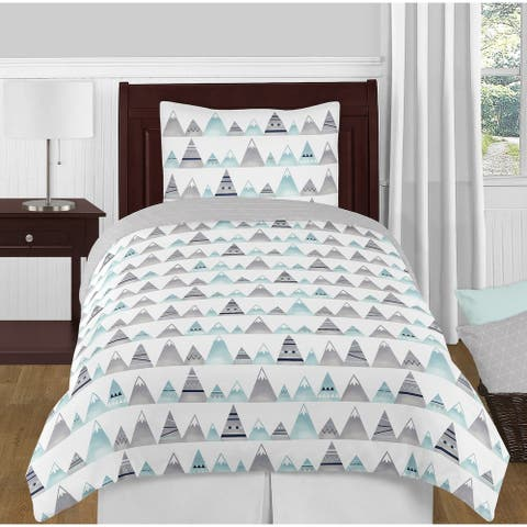 Sweet Jojo Designs Navy Blue, Aqua and Grey Aztec Mountains Collection Boy or Girl 4-piece Twin-size Comforter Set