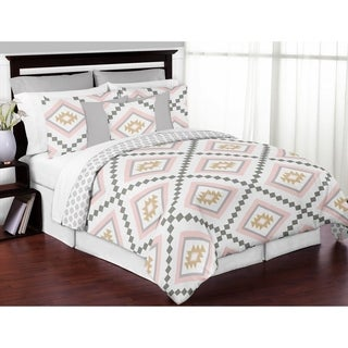 Sweet Jojo Designs Blush Pink and Grey Boho and Tribal Aztec Collection Girl 3-piece Full / Queen-size Comforter Set