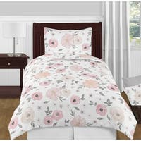 Sweet Jojo Designs Blush Pink, Grey and White Chic Watercolor Floral Collection Girl 4-piece Twin-size Comforter Set