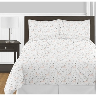 Sweet Jojo Designs Pink, Grey and Gold Unicorn Collection Girl 3-piece Full / Queen-size Comforter Set