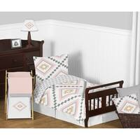 Sweet Jojo Designs Blush Pink and Grey Boho and Tribal Aztec Collection Girl 5-piece Toddler-size Comforter Set