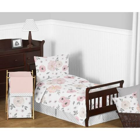 Sweet Jojo Designs Blush Pink, Grey and White Chic Watercolor Floral Collection Girl 5-piece Toddler-size Comforter Set