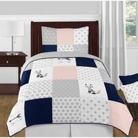 Sweet Jojo Designs Navy Blue, Pink and Grey Patchwork Woodland Fox Arrow Collection Girl 4-piece Twin-size Comforter Set